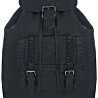 Black Plaited Trim Rucksack - Bags & Purses  - Accessories