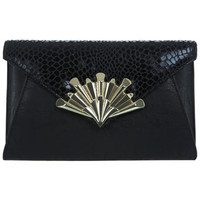 Clasp Detail Black Clutch - Bags & Purses  - Accessories