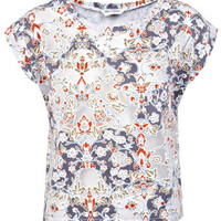 Multi Floral Burnout Crop Tee - Tops  - Clothing