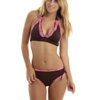 MOJOZ Chocolate &amp; Pink Lace Two Piece Boyleg Bikini