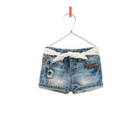 DENIM SHORTS WITH EMBROIDERED BELT - Skirts and shorts - Baby girl - Kids - ZARA United States