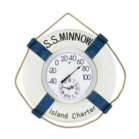 RAM Gameroom &quot;S.S. Minnow&quot; Outdoor Thermometer and Clock - ODR292 - All Wall Art - Wall Art &amp; Coverings - Decor