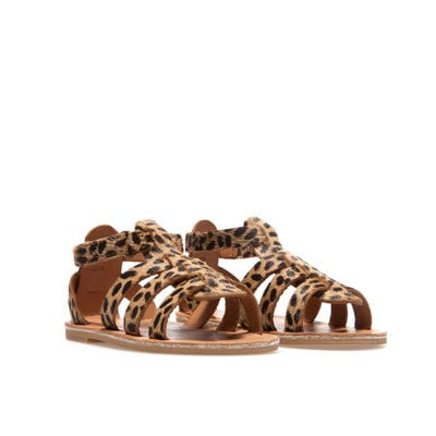 Leopard print leather sandal Shoes from ZARA