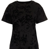 Devore Flocked Floral Tee By Boutique