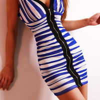 coolstyle — Low-cut sexy double v-neck tight package hip backless condole belt dress