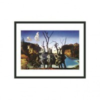 "Frames By Mail Swans Reflecting Elephants by Dali Framed Print - 11"" x 14"" - FPF461-BMG-RM - All Wall Art - Wall Art & Coverings - Decor"