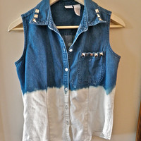 Vintage Upcycled Jean Denim Vest Bleached & by MoonShineApparel