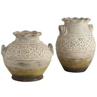 Embossed Antique White Vases