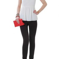 Ivory Peplum Tunic with Black Lace Shoulder Detail