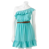Trixxi Ruffled Asymmetrical Dress - Juniors