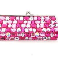 fuschia rhinestone clutch - bridesmaids, prom, bridal adorable clutch - gift or for you NEW