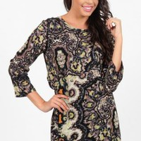 Mulitcolored Pixel Print Shift Dress