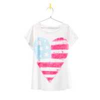 HEART FLAG PRINTED T-SHIRT - Girl - New this week - ZARA United States