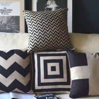 Black Zigzag Pillow - Chevron Pillow Cover