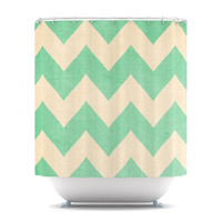 ON SALE UNTIL SUNDAY! Catherine McDonald &amp;quot;Malibu&amp;quot; Mint Green Chevron Shower Curtain | KESS InHouse