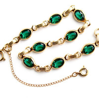Vintage 12K Gold Filled Green Stone Bracelet -  Emerald Glass Mid Century Jewelry / Dainty Golden Links