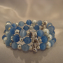Blue Mexican Opal &amp; Fresh Water Pearl Memory Wire Bracelet
