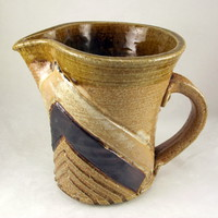Rustic primitive handmade studio pottery pitcher incised chevron design