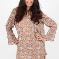 Tangerine Printed Shift Dress