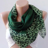 Fashion Shawl - Cotton Scarf - Headband - Necklace - Leopard - Green