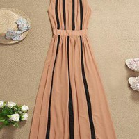 Stripes Color-blocked Long Chiffon Dress