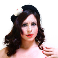 Vintage Black Fascinator Hat - 1950s Veil Netting Fashion Accessory / White & Red Accents