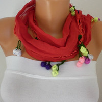 Red Scarf Cotton Scarf  Cowl with  Lace Edge  Gift