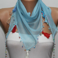 Light Blue Scarf ,Cotton Scarf  Woman  Cowl with Lace Edge -