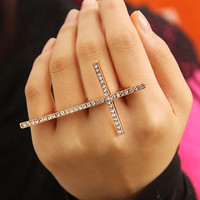 Fashion Cross Rhinestone Double Finger Ring | LilyFair Jewelry