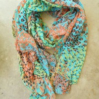 Charming Peacock Feather Scarf [2252] - $22.00 : Vintage Inspired Clothing & Affordable Summer Frocks, deloom | Modern. Vintage. Crafted.