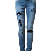 FILLES A PAPA | Sequin Distressed Denim Jeans | Browns fashion &amp; designer clothes &amp; clothing