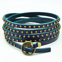 Blue Soft Leather Women Leather Bracelet, Rivet Wrap Bracelet, Girl Wrap Bracelet, Cool Cuff  RZ0273