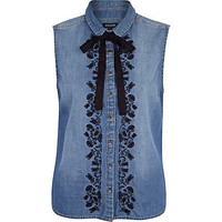Denim embellished sleeveless dolly shirt