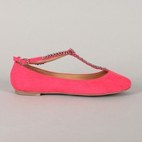 Breckelle Ava-03 Suede Chain T-Strap Round Toe Flat