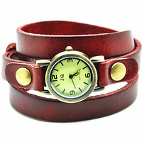 Vintage Style Red Leather Bracelet Wrap Watch, Rivet Bracelet Watch Handmade Women's Watch, Everyday Bracelet  RZ0285