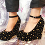 Gold Stud &amp; Diamante Gem Black Suede Wedge Sandal Shoes from APPRAISED