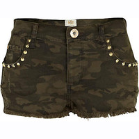 Khaki camo print stud pocket denim shorts  - denim shorts - shorts - women
