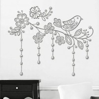 Wake Up Frankie - Silver Bird on a Branch Wall Decal : Teen Bedding, Pink Bedding, Dorm Bedding, Teen Comforters