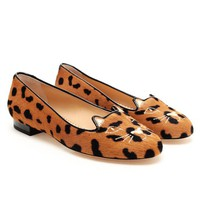 CHARLOTTE OLYMPIA | Embroidered Ponyskin Kitty Flats | Browns fashion &amp; designer clothes &amp; clothing
