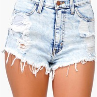 USA Denim Shorts - Blue