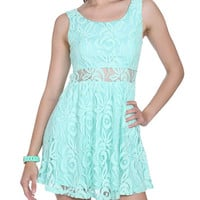 Crochet Illusion Waist Skater Dress | Shop Just Arrived at Wet Seal