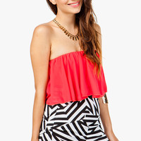 Strapless Chiffon Crop Top