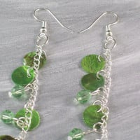 Green Shell Drops and Swarovski Crystal Long Shoulder Duster Earrings