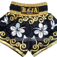 RAJA Boxing shorts - Flower - Black/Gold/Silver [RTB-408_1.11] - Low prices on thai boxing Shorts