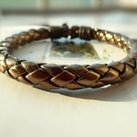 Summer Christmas Gift Natural Golden Braided Leather Adjustable Wrap Bracelet  S-31