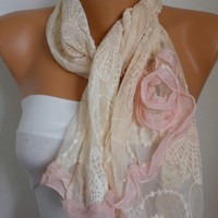 Salmon Lace Scarf  Shawl Scarf  Cowl Scarf  bridesmaid by fatwoman