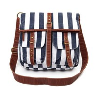Stripe Crossbody Bag, Navy Cream  Journeys Shoes