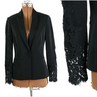 Vintage 1980s Fitted Black Blazer w Sheer Lace Sleeves / Cache XS S