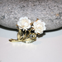 Vintage Carved Lucite Cream Rose Brooch