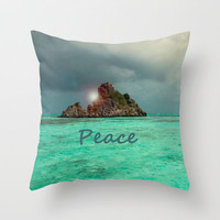 PEACE Throw Pillow by catspaws